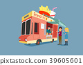 Vector - Illustrated food truck collection. colorful flat design for street food and cafe truck. 012 39605601