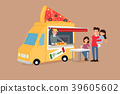 Vector - Illustrated food truck collection. colorful flat design for street food and cafe truck. 005 39605602