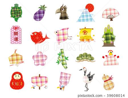吉祥物 幸運符 新年賀卡材料 39608014