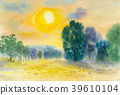 Painting of sunset and green tree. 39610104