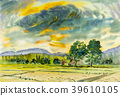 Painting colorful of rice field in mountain. 39610105