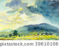 Painting of Sunny rain and blue mountain. 39610106