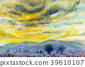 Painting colorful of sunset in cloud  and emotion 39610107