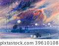 Watercolor landscape painting of evening sky. 39610108