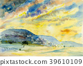 Watercolor landscape painting of mountain. 39610109