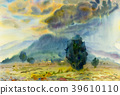 Watercolor landscape painting colorful of mountain 39610110