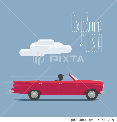 Explore USA in the car vector illustration, poster 39611719