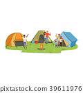Hiking tourists enjoying camping, traveling and 39611976