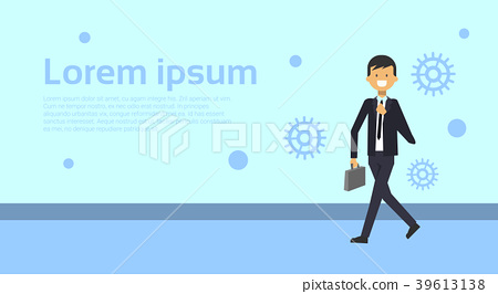Elegant Business Man In Suit With Briefcase Over 39613138