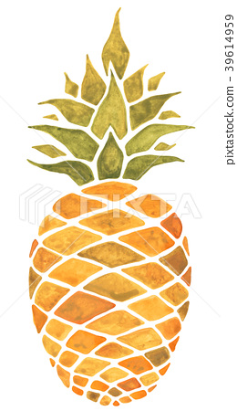 Pineapple. Watercolor illustration. 39614959