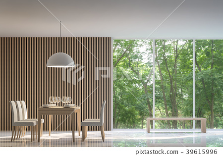 Modern dining room in the forest 3D render 39615996