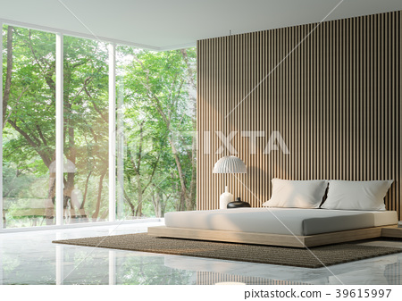 Modern bedroom in the forest 3D Render 39615997