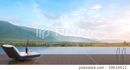 Swimming pool terrace with mountain view 3D Render 39616012