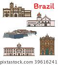 Brazilian travel landmark icon of South America 39616241