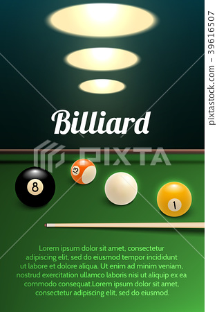 Billiards sport 3d banner with table, ball and cue 39616507
