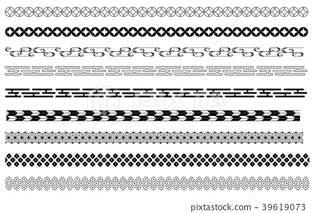 Japanese pattern decoration line black and white 39619073