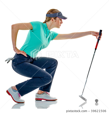 woman golfer golfing isolated 39621506