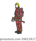 firefighter standing with big axe vector  39622817