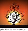 Decorative tree on sunset background 39623407
