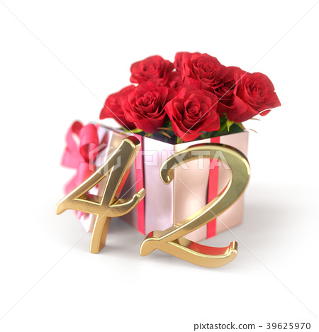 birthday concept with red roses in gift isolated 39625970