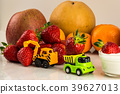 Toy dump truck and excavator carry fruits, strawbe 39627013