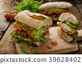 Veal schnitzel - fillet in a bun 39628402