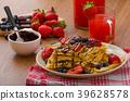 Belgian waffles with blueberries, strawberries 39628578