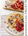 Pancakes with homemade balsamic reduction and fresh fruit 39628776