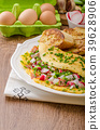 Omelette with spring vegetables and bacon 39628906