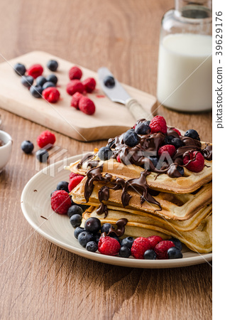 Homemade belgian waffles with fruit and