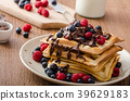 Homemade belgian waffles with fruit and chocolate 39629183