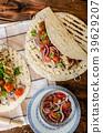 Turkey kebab with parsley salsa 39629207