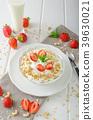 Domestic yogurt with strawberries 39630021