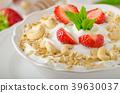 Domestic yogurt with strawberries 39630037