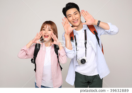 Happy young traveler couple concept photo. set out on a trip to honeymoon, camping and summer vacation concept isolated on white background. 174 39632889