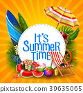It's summer time banner design with white circle f 39635065