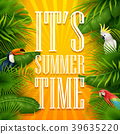 It's summer time typography wooden background with 39635220