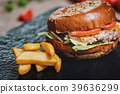 Burger with fries 39636299