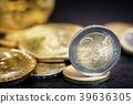 Bitcoin and Euro coin 39636305