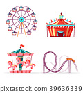 Vector cartoon amusement park attractions set. 39636339