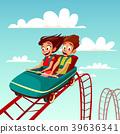 Kids on rides vector cartoon illustration of boy 39636341