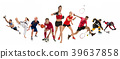 Sport collage about kickboxing, soccer, american 39637858