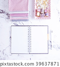 White Empty Notebook with sewing items over marble 39637871
