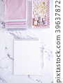White Empty Notebook with sewing items over marble 39637872
