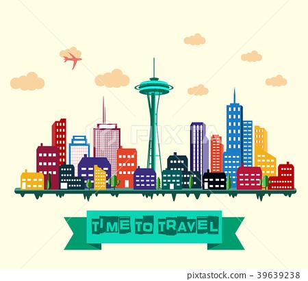 Seattle city detailed skyline 39639238