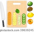 Lemon, leaf and cucumber slices and knife on the c 39639245