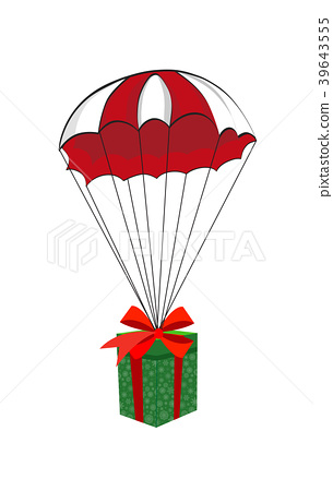cartoon gift falling down with parachute isolated 39643555