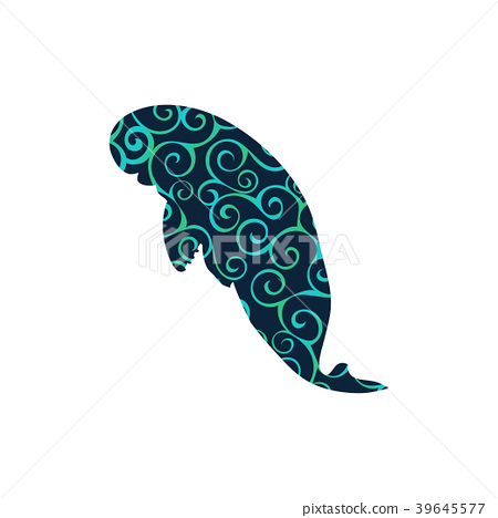 Manatee mammal sea spiral pattern color silhouette 39645577