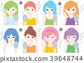 成人/女士/ 8人/鏡子/疼痛/頭髮乾燥 39648744