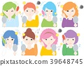 Adult / Woman / 8 people / Mirror / Trouble / Hair static electricity 39648745